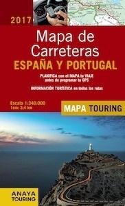 Libro: ESPAÑA Y PORTUGAL Mapa de carreteras 1:340.000 -2017- - Anaya Touring
