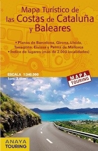 Libro: COSTAS DE CATALUÑA Y BALEARES Mapa Touring 1:340.000 -2017- - Anaya Touring